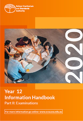 Cover of handbook with picture of students around a table studying