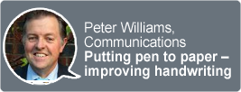 A photo of Peter Williams and the title Putting pen to paper - improving handwriting